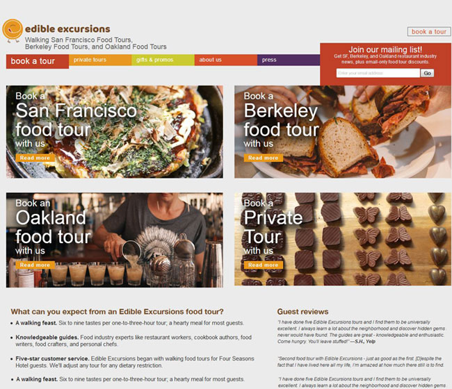 Edible Excursions - Raw Data website example