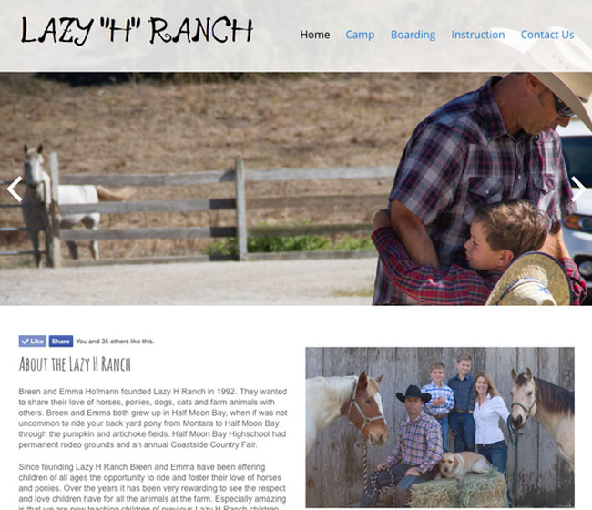 Lazy H Ranch - Raw Data website example