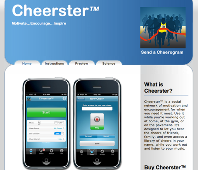 Cheerster - Raw Data software app example