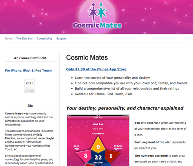Cosmic Mates - Raw Data software app example